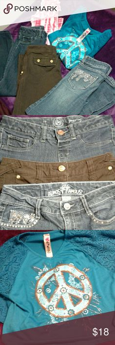 FULL LOT of Girls Size 10 Jeans & Girls L/XL Tops Included *3 Sz 10 jeans, 1st is by Almost Famous w/ sequin embellished back & front pockets (a few missing sequins) a rhinestone top button, 2nd are by Candie's, brown pants (fabric has a iron starched feel) rhinestone buttons on back & front pockets & rhinestone top button, 3rd, a pair of SO brand Jeggings in a dark wash. *2 Shirts, 1 is a pink tie-dye tank with frill design by Circo Sz XL, 2nd is a stunning dark teal and blue butterfly…