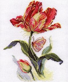 Unopened Russian Counted Cross Stitch Kit Alisa Tulip and Butterfly for sale online Cross Stitch Bird, Counted Cross Stitch Kits, Cross Stitch Flowers, Cross Stitch Designs, Cross Stitching, Cross Stitch Embroidery, Cross Stitch Patterns, Embroidery Thread, Hardanger Embroidery