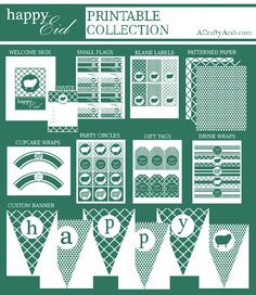 A Crafty Arab: Green Eid Decorations {Free Printables}. If you remember, earlier… Eid Crafts, Ramadan Crafts, Eid Party, Easter Party, Happy Eid, Make Happy, Easter Printables, Free Printables, Party Printables
