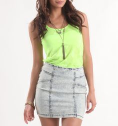 I love neons and high waisted skirts   # PacSun
