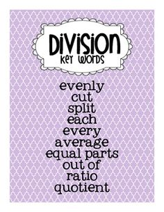 Multiplication and Division Key Word Posters FREEBIE by Games 4 ...