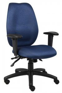 Boss High Back Task Chair SKU: B1002 High-back styling upholstered with commercial grade fabric. Sculptured waterfall seat made from molded foam that contours to the shape of your body. Ratchet back height adjustment allows perfect positioning of the back cushion for lumbar support. Adjustable height armrests with soft polyurethane. Width adjustable armrest allows the user to move the armrests to match shoulder breadth.  Availability: 4 Color(s) Available Pricing: $219.99
