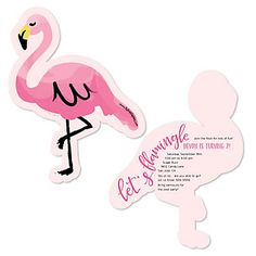 Flamingo - Party Like a Pineapple - Shaped Birthday Party Invitations | BigDotOfHappiness.com