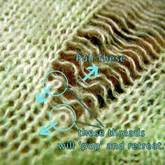 Learn how to distress a sweater the right way with this complete distressed sweater tutorial, with photos of each and every step. Knitting Stiches, Sweater Knitting Patterns, Old Sweater, Sweaters, Alter Pullover, Clothing Hacks, Clothing Ideas, Clothing Patterns, Diy Shorts