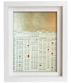 Gold Paris  Gold and red painted print  GoldUniqueParis by tubidu, $30.00