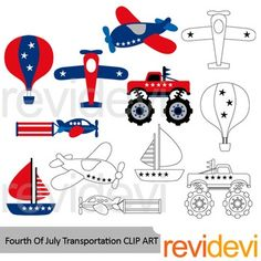 Fourth of July clip art set featuring transportation in red blue. Balloon air, airplanes, monster truck, and a boat. A great collection for USA Independence day theme projects.You will get 6 colored graphics and another 6 in black and white outline.Great resource for any school and classroom projects such as for creating bulletin board, printable, worksheet, classroom decor, craft materials, activities and games, and for more educational and fun projects.You will receive:- Each clipart…