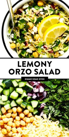 This Lemony Orzo Pasta Salad is made with hearty orzo pasta, fresh spinach or ar. This Lemony Orzo Healthy Salads, Healthy Eating, Healthy Recipes, Summer Vegetarian Recipes, Vegetarian Barbecue, Going Vegetarian, Vegetarian Dinners, Vegetarian Cooking, Orzo Salat