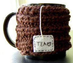 Tea Love Rib Knit Mug Cozy, in Organic Cotton by KnitStorm, via Flickr