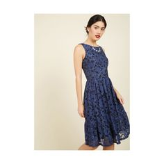 Long Sleeveless A-line One for the Honey Lace Dress (£58) ❤ liked on Polyvore featuring dresses, apparel, blue, fashion dress, long cocktail dresses, long evening dresses, a line cocktail dress, blue lace cocktail dress and blue floral dress