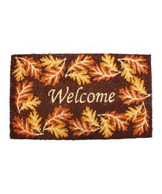 Look at this Harvest Leaves 'Welcome' Doormat on #zulily today!