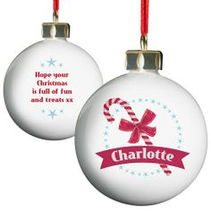 Personalised Candy Cane Bauble from Personalised Gifts Shop - ONLY Personalised Christmas Baubles, Christmas Gifts For Her, Christmas Ideas, Christmas Ornaments, Personalized Candy, Personalised Gifts, Dream Garage, Candy Cane, Decorations