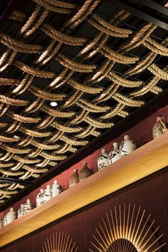 Gochi Restaurant Ceiling Design | Love the Overlapping Rope Ceiling