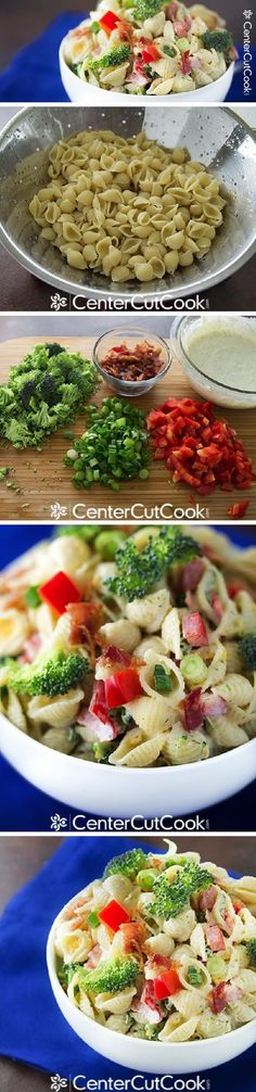 EASY RANCH PASTA SALAD with bacon, broccoli, and red pepper!