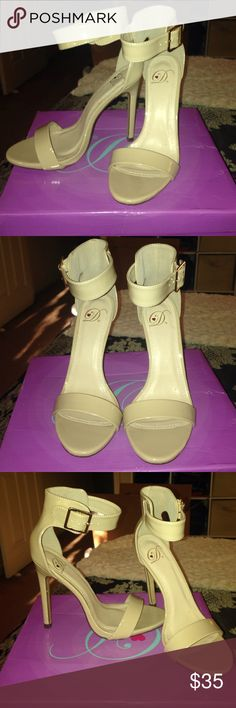 Nude single sole heels Patent Beige Classy Dress open toe stiletto heel sandal with gold buckle ankle strap! Worn once! New with Box! Heel is 4.75 inches! delicious shoes Shoes Heels