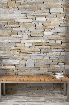 Baw Baw Stone: Dry Stone Wall Cladding by Eco Outdoor Dry Stone, Brick And Stone, Natural Stone Wall, Natural Stones, Wall Cladding, House Front, Outdoor, Modern Houses, Wood