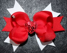 Valentine's Day Red and White Hair Bow. Sweet and simple.