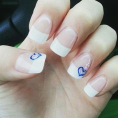 French manicure with accent heart design #supercute