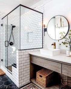 44 Marvelous Farmhouse Master Bathroom Decor Ideas and Remodel - Home Design Inspiration Bad Inspiration, Bathroom Inspiration, Cool Bathroom Ideas, Bathroom Inspo, Bath Ideas, Shower Ideas, Modern Bathroom, Master Bathroom, Bathroom Vanities