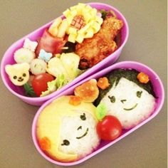 a boy and a girl ! Japanese Food Art, Japanese Lunch Box, Boy Meets Girl, Dishes, Breakfast, Morning Coffee, Plate, Tableware, Cutlery