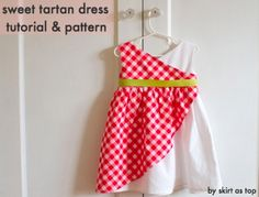 Skirt As Top: sweet tartan dress tutorial & free sewing pattern size Sewing Patterns For Kids, Dress Sewing Patterns, Sewing For Kids, Baby Sewing, Free Sewing, Clothing Patterns, Fabric Sewing, Dress Tutorials, Sewing Tutorials