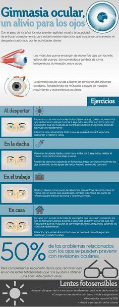 Con la gimnasia ocular mejorarás tu agudeza visual, evitarás el aumento de la miopía y retrasarás la aparición de la incómoda vista cansada o presbicia.