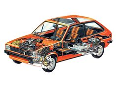 1976 Ford Fiesta S - Illustrared by Bruno Betti Technical Drawing, Cutaway, Illustrators, Toys, Car, Technical Illustrations, Illustrations, Cars, Sectional Perspective