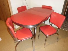 NICE Antique 50's Diner Formica & Chrome Dinette Table with Chairs. This pretty much rocks my socks off.  Love, love, love.