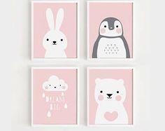 Printable Nursery Art Set of 4 Poster Baby Girls room Wall art Child room decor Pink color Animals p Baby Room Art, Kids Room Art, Art Wall Kids, Baby Room Decor, Art For Kids, Child Room, Girl Room, Baby Art, Nursery Prints