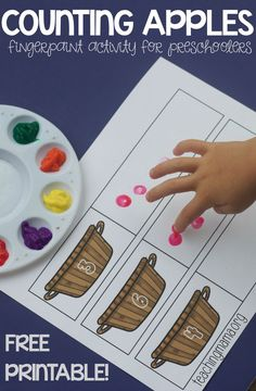 Free counting apples finger printing activities for preschoolers Preschool Apple Activities, Preschool Curriculum, Preschool Classroom, Autumn Activities, Preschool Apples, Counting Activities, Fall Preschool, Number Activities For Preschoolers, Kindergarten Activities