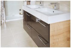 Crisp white twin mineralcast basins #youmodular #bathroomfurniture #myutopia
