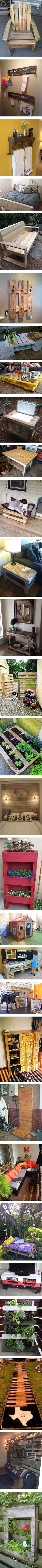 Why go out and spend money on new furniture when you can simply make your own!  Here we have 30 furniture ideas you can make yourself from pallets.  You don't need to be an experienced at woodworking to make these, you just need a few pallets, some tools, and a little time.