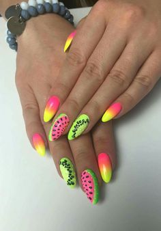 Summer nails – Apocalypse Now And Then Minimalist Nails, Summer Acrylic Nails, Summer Nails, Cute Nails, Pretty Nails, Pink Black Nails, Fruit Nail Art, Watermelon Nails, Nails For Kids