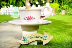 Oversized tea cup and saucer from Vintage Alice in Wonderland Birthday Tea Party at Kara's Party Ideas. See more at karaspartyideas.com!