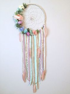 flower fabric I just love the soft, fresh feel of this feminine, pastel dreamcatcher! The base is wrapped in white/gold yarn with a cream twine hand woven authentic web holding 2 specia Diy And Crafts, Arts And Crafts, Boho Bedroom Decor, Bedroom Ideas, Dream Catcher Boho, White Ribbon, Beaded Flowers, Modern Wall, Twine
