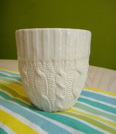 Cable knit ceramic cup  Ivory Glazed edge by reshapestudio on Etsy