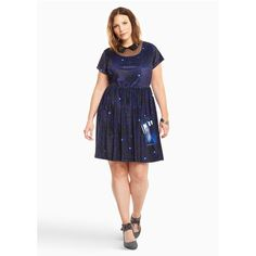 Torrid Doctor Who Velvet Skater Dress ($24) ❤ liked on Polyvore featuring dresses, tardis galaxy, plus size fit and flare dress, velvet skater dress, womens plus dresses, white skater dress and plus size dresses