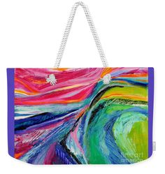 This Abstract Scape Is An All Time Favorite .extremely Colorful Weekender Tote Bag featuring the painting Sunset Beyond The Hill by Expressionistartstudio Priscilla-Batzell