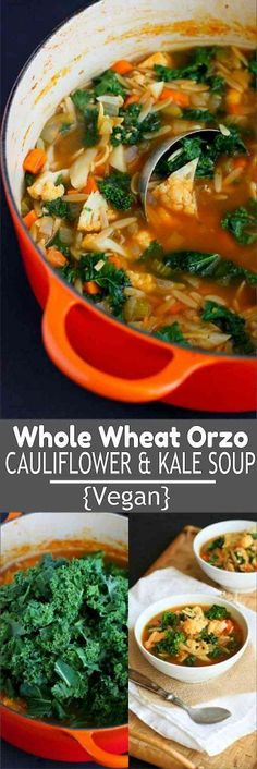 This vegan Whole Wheat Orzo, Cauliflower and Kale Soup is packed with vegetables, flavor and fiber! 205 calories and 5 Weight Watchers SmartPoints #vegetarian