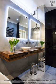 Modern Bathroom, Small Bathroom, Bathrooms, Black Tiles, Backsplash, Cool Designs, House Design, Interior Design, Mirror