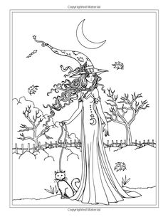 Autumn Fantasy Coloring Book - Halloween Witches, Vampires and Autumn Fairies: Coloring Book for Grownups and All Ages! Witch Coloring Pages, Mickey Mouse Coloring Pages, Pattern Coloring Pages, Halloween Coloring Pages, Printable Adult Coloring Pages, Doodle Coloring, Coloring Books, Fall Art Projects, Book Of Shadows