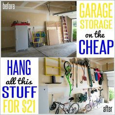 Tired of parking outside when you have a perfectly good (but unorganized garage)? Here's some cheap garage storage and organization for you! Make room on the floor by hanging items like rakes, shovels, brooms, and scooters on the wall - for only $21!