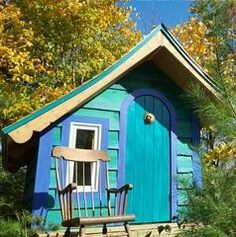 Whimsical playhouse built with the Flutter-By playhouse plans Playhouse Planner Kids Playhouse Plans, Backyard Playhouse, Build A Playhouse, Fairy Houses, Play Houses, Tiny House, Shed, Outdoor Structures, Building
