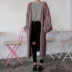 27d12ddafec ロングカーディガン 【韓国ファッション,オルチャンファッション,冬服コーデ,秋冬コーデ,