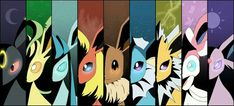 Eevee evolutions, Flareon, Jolteon, Glaceon, Leafeon, Umbreon, Espeon, Sylveon, Vaporeon