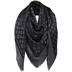 Pre-owned Auth Louis Vuitton Black With Silver Monogram Large Shawl/... ($500) ❤ liked on Polyvore featuring accessories, scarves, monogrammed scarves, louis vuitton scarves, silver scarves, shawls scarves and louis vuitton