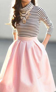 Striped top,pink midi skirt