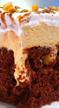 Chocolate Peanut Butter Pie Poke Cake