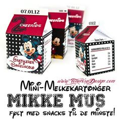 mikke mus melkekartonger Mouse Parties, Free Printables, Origami, Mickey Mouse, Templates, Mini, Party, Models, Stencils