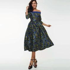 Specifics  Gender	Women  Neckline	Slash neck  Silhouette	A-Line  Style	Vintage  Material	Polyester  Sleeve Style	Regular  Sleeve Length	Half  Dresses Length	Mid-Calf  Pattern Type	Print  Decoration	None  Waistline	Natural  Silhouette	A-Line  Closure	Zipper  Pattern	Floral  Embellishment	Pleated,Embroidery,Patchwork  Color	Blue  Size	M L XL  Item	Embroidery Floral vintage dress slash neck | Shop this product here: http://spreesy.com/shopforgoodies/788 | Shop all of our products at…