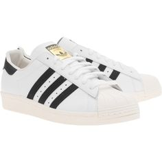 ADIDAS ORIGINALS Superstar 80s White Black // Flat leather sneakers (€99) ❤ liked on Polyvore featuring shoes, sneakers, adidas, zapatos, chaussures, adidas originals trainers, black and white flat shoes, black and white trainer, black and white shoes and adidas originals sneakers